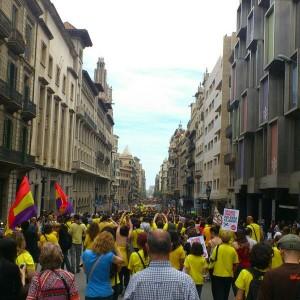 Die Fahnen der spanischen Republik in Barcelona