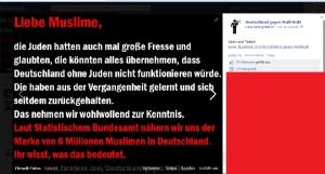 Ein Screenshot des Aufrufs zum Völkermord!