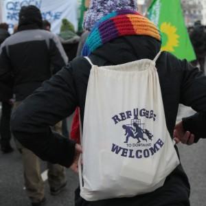 Die Tasche einer Demonstrantin.