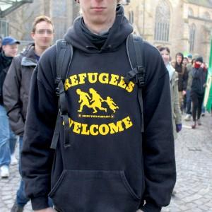 Der Pulli eines Demonstrantens.
