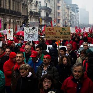 Bild einer Streikversammlung in Belgien - Quelle: sozialismus.info
