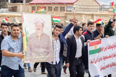Demonstration von Studierenden zugunsten des Regierungspräsidenten Masud Barzani