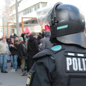 Polizei Blick Blockado