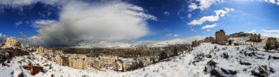 Nablus im Winter, von den Südhügeln aus fotografiert.